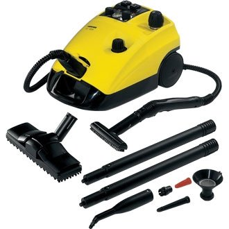 Karcher Industrial Steam Cleaner (Professional steam cleaner provides cleaning without the use of chemicals. Twin water tanks permit quick heating up times and allow continuous operation as the unit can be topped up during operation. Trolley available sep