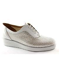 MELLUSO zapatos grises R2742 abarcas de plata cordones zeppetta