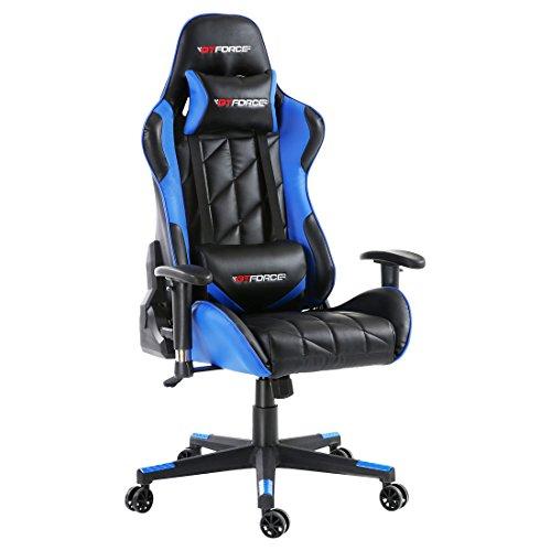 GTFORCE PRO GT - Gaming-Stuhl für E-Sport und Rennspiele - PC-Stuhl für das Büro - Liegepositionen - Kunstleder - Blau