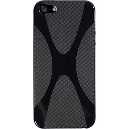 PhoneNatic Case für Apple iPhone SE Hülle Silikon schwarz X-Style Cover iPhone SE Tasche + 2 Schutzfolien Schwarz