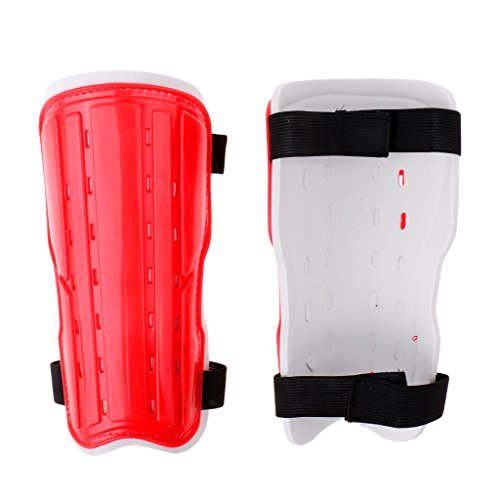 Baoblaze 1 Pair Padded EVA Men Women Kids Shin Guard Pads Protection Gear for Soccer Football Sports - Breathable & Lightweight - Various Colors - M/L - Red, L