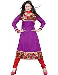 Jheenu Women's Purple Cotton anarkali Embroidered Unstitched Dress Material