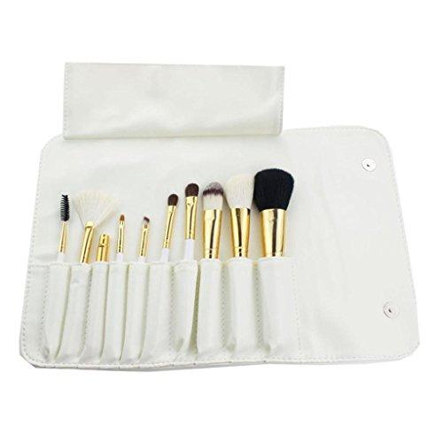 Fulltime® 10pcs de haute qualité pinceau de maquillage de laine Sets Cosmetic Brush (blanc)