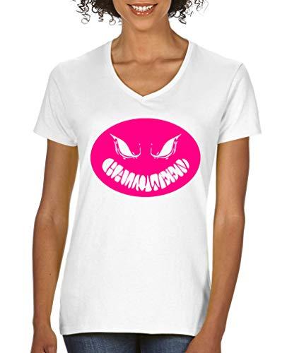 Comedy Shirts - Halloween Kuerbiskopf - Damen V-Neck T-Shirt - Weiss/Pink Gr. S (Pink S Tochter Halloween)