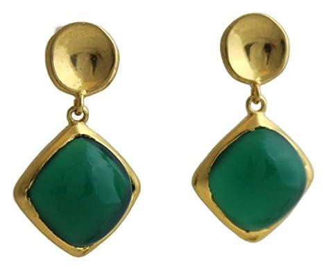 Sophia Rose en argent sterling 925plaqué or 18carats–Boucles d'Oreilles Pendantes Femme–Onyx vert