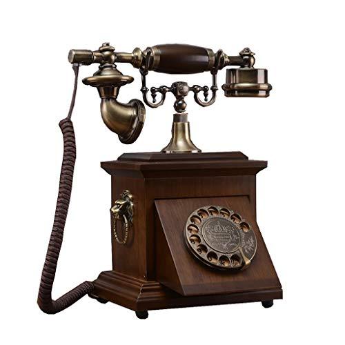 Antikes massivholz-Telefon,Antikes Telefon verkabelt Wählscheibe Telefon Retro Telefon Altes Telefon-C - High-fidelity Plattenspieler