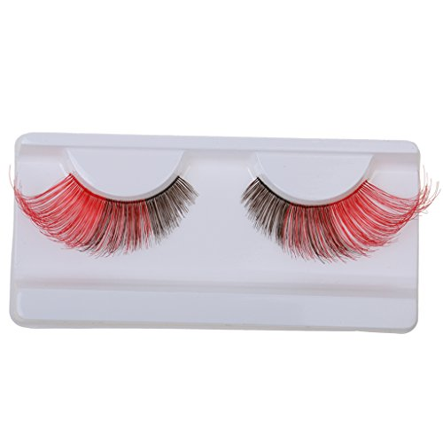 1 Paar Lange und Übertriebene Unechte Wimpern / Künstliche Wimpern für Augen Make-up, Halloween Party, Club - Kaffee + Rot