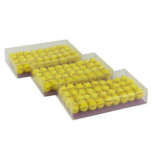 Wewill marca 3 x Scatole-Pack di 36 Piccolo Carino completamente giallo ciniglia Pulcini di Pasqua (Easter Bunny Ornamento)