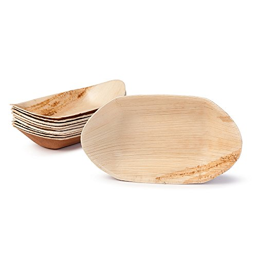 BIOZOYG Palmblatt Schale für Fingerfood I Einweggeschirr biologisch abbaubar, kompostierbar I Einweg Schälchen Servierteller Dipschale Snackschale