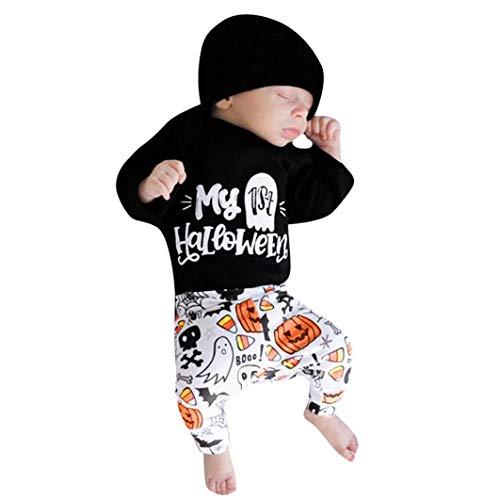 Halloween Babykleidung Venmo Romper Neugeboren kostüm kinderkostüme Niedlich Buchstabendruck Spielanzug Overall Drucken Mädchen Spielanzug Tops + Hosen +Hut Ghost Kleider Outfits Set