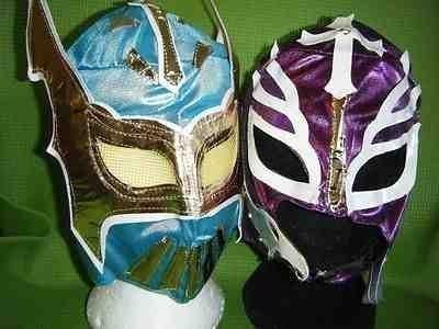 WRESTLING MASKEN BLAU SIN CARA LILA REY MYSTERIO kostüm verkleiden outfit maske mexikanisch kinder neue serie Outfit lucha dore lucha libre (Sin Cara Kostüm Blau)