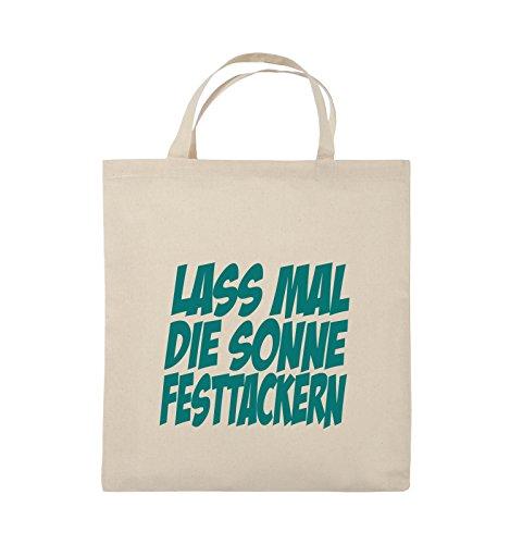 Comedy Bags - LASS MAL DIE SONNE FESTTACKERN - Jutebeutel - kurze Henkel - 38x42cm - Farbe: Schwarz / Pink Natural / Türkis