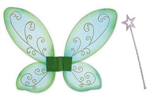 Elfen-Set, gold oder silber Stab mit Flügel grün, Fee, Zauber, Märchen, märchenhaft, zauberhaft, Elfe ()