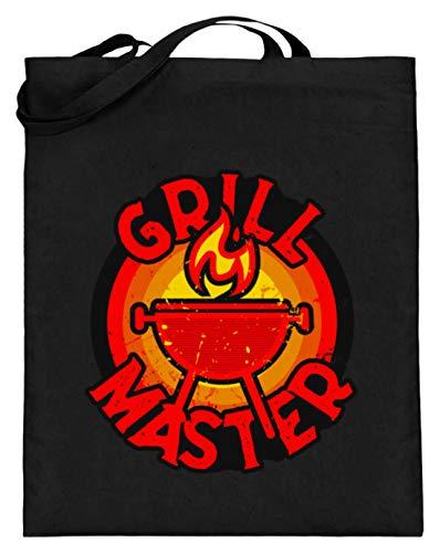 ALBASPIRIT Grillen T-Shirt Grill-Master BBQ Grillparty Steak Holzkohlegrill Sommer Grillchef Geschenk - Jutebeutel (mit langen Henkeln) -38cm-42cm-Schwarz