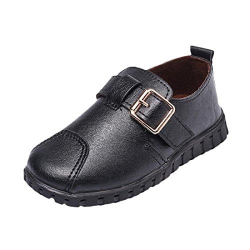 Btruely Kleinkind Schuhe Kinder Mädchen Jungen Baby Schnalle Krippe Weich Sohle Turnschuhe Single Beiläufig Schuhe (21, Schwarz) (Mädchen Schnalle)
