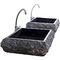 Lavabo de una sola pieza, lavabo de tocador de baño de mármol de piedra maciza natural, lavabo de encimera gris texturizado rústico - ancho 50 cm, diámetro 40 cm, altura 13 cm, pesa 38 kg - Cemlux