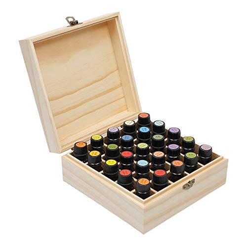 Beunyow 25 Löcher Tragbar Holz Aromatherapie Geschenk-Box Ätherische Öle Flaschen Box Aufbewahrung Koffer Box - Geeignet für Nagellack, Duftöle, Ätherisches Öl, Stain und Lippenstift