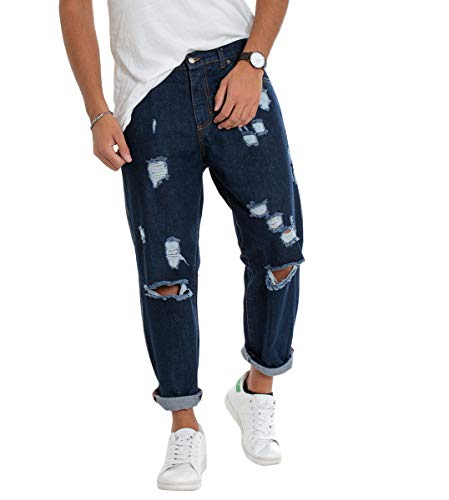 Giosal jeans uomo pantalone denim scuro strappato largo riga bianca laterale cotone casual p1791a-48
