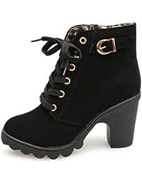 Women Boots Shoes, SOMESUN Il tallone dell'alto tallone di modo delle donne merletta i pattini della piattaforma delle signore delle scarpette (36, rosso)