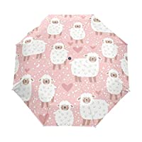 Jeansame Vintage Sheep Lambs Polka Dots Heart Pink Folding Compact Umbrella Automatic Sun Rain Umbrellas for Women Men Kid Boy Girl
