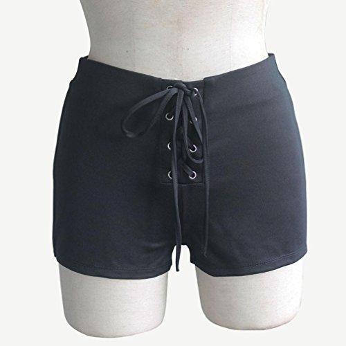 Amlaiworld Femmes taille haute lâche à la mode Short Jeans/Pantalons Noir
