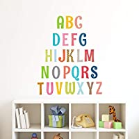 DECOWALL DA-1701 1701S 1701A 8023 Uppercase Alphabet ABC with Pictures Kids Wall Stickers Wall Decals Peel and Stick Removable Wall Stickers for Kids Nursery Bedroom Living Room