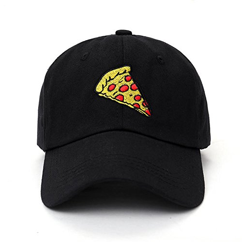 Amkun New Pizza Embroidery Baseball Cap Trucker Hat Unisex Adjustable Size dad  hat (Black) 560055914dee