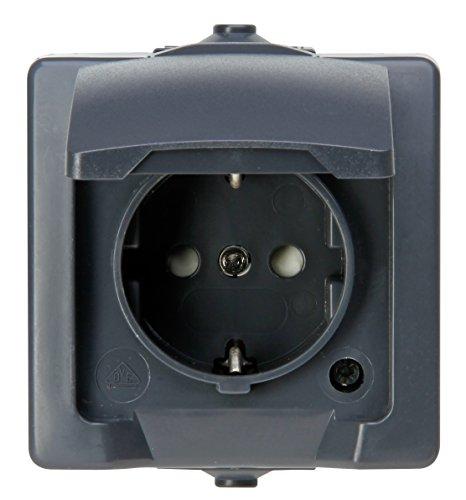 Kopp 107815006 Nautic 1-fach Schutzkontakt-Steckdose, mit Klappdeckel und erhöhtem Berührungsschutz, Aufputz, für Feuchtraum, 250 V, 16 A, IP 44, anthrazit