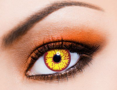 Farbige orange funlinsen, crazy contact lenses ORANGE WEREWOLF, Werwolf 1 Paar. Mit gratis Linsenbehälter! Eye Effect