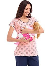 ZEYO Women's Cotton Pink Unique Print Feeding Top