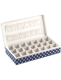 Caja, para gemelos/pendientes, 21compartimentos, color azul con lunares