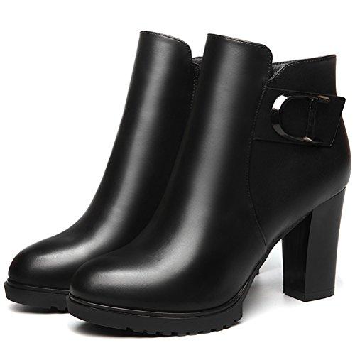 Damen Einfarbige Runde Zehen Hoch Blockabsatz Stiefeletten Reißverschluss Dicke Sohle Plateauaufzug Bequeme Überpassende Schuhe Schwarz