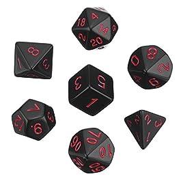 Set di Dadi Poliedrici 7-Die per Dungeons e Dragons con Sacchetto Nero (Nero)