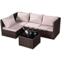 Conjunto de 5pcs muebles de jardín de ratán Mesa con vidrio+Sofás +cojínes aire libre marrón