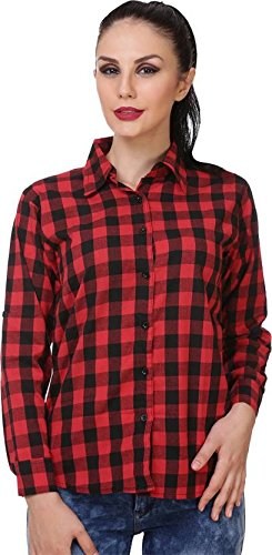 Trendy Frog Women Red Check Cotton Shirt, Multicolor, Small