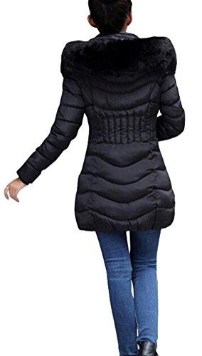 SMITHROAD Damen Mantel Mittel Lang mit Kunstpelzkapuze Outwear Wintermantel Jacke Parka Elegant Langarm Gr.34-42 Schwarz
