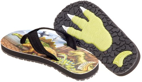Dinosoles Flipflosaurus - Zapatillas de material sintético niño, color marrón, talla 27 EU / 9 UK