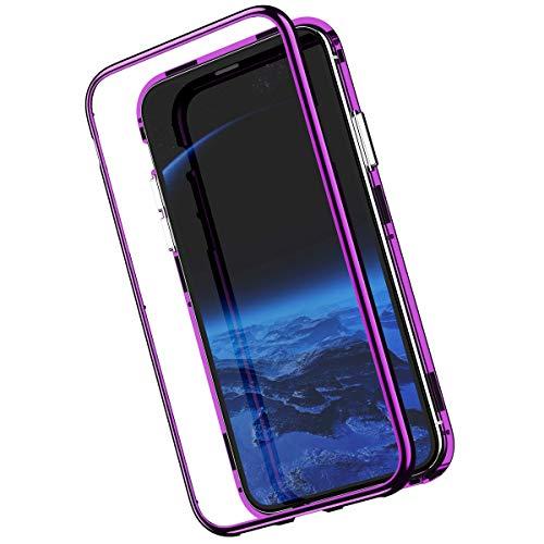 Kompatibel mit iPhone XS Hülle Tempered Glass Spiegel Backcover Handyhülle mit Eingebauter Magnet Flip Funktion 360 Grad Schutz Metall Frame Adsorption Stoßfest Bumper Klar Case Tasche,Lila