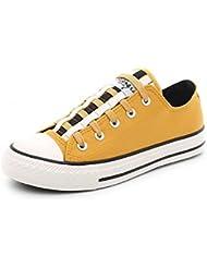 Las Mujeres De Bajo Fondo Plano Superior Encaje Zapatos De Lona De Ocio Skates, Amarilla 39