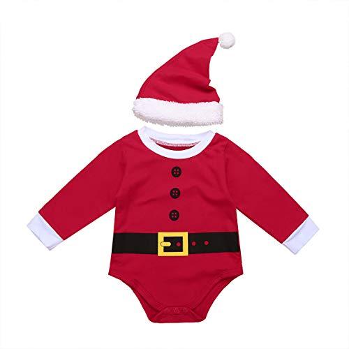 iiniim Peleles Navidad Bebé Niño Niña Recién Nacido Mono Body Infantil Manga Largo Ropa Invierno Fiesta Conjunto Trajes de Santa Mameluco Algodón Christmas Romper Rojo 9-12 Meses
