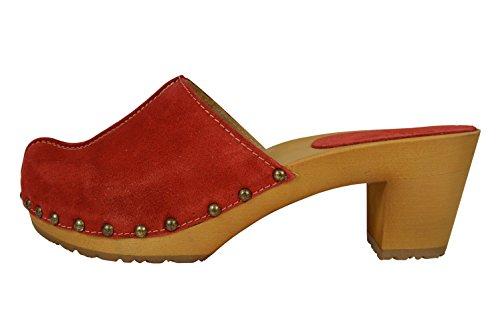 Buxa Damen Holz und Wildleder Clogs mit Hohen Absätzen und Metallbolzen Rot