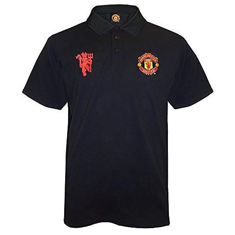 Manchester United FC Herren Polo-Shirt mit originalem Fußball-Wappen - Schwarz - XXL (Manchester Zu Weihnachten)