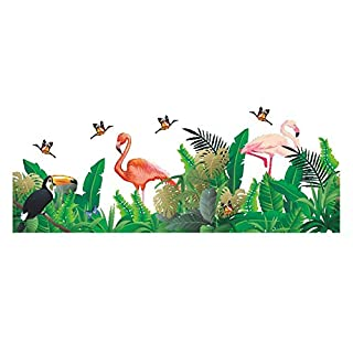 AWAKINK Cartoon Flamingos Butterflies Green Plants Leaves Pastoral Style Wall Stickers Wall Decal Vinyl Removable Art Wall Decals Bedroom Living Room Nursery Room Children's Bedroom