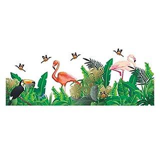 AWAKINK Cartoon Flamingos Butterflies Green Plants Leaves Pastoral Style Wall Stickers Wall Decal Vinyl Removable Art Wall Decals Bedroom Living Room Nursery Room Children's Bedroom