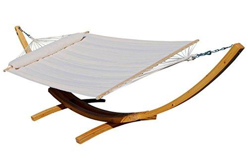 410cm XXL stand hamac NATUREL REMPLI CRÈME ÉDITION mélèze en bois avec tige hamac (rembourrés) et coussins de AS-S