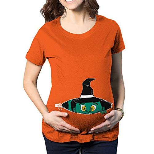 fa056c35f Camiseta de Maternidad Halloween Elasticidad Embarazada Camiseta Ropa  Premamá Calabaza Estampado-Estilo 7 S