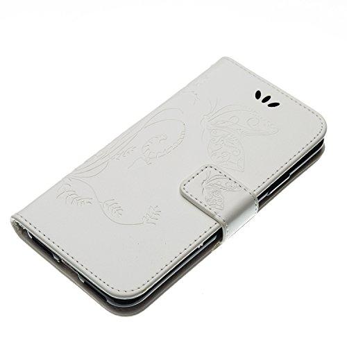EUWLY Case Cover per iPhone X Custodia Portafoglio PU Pelle Cover Lanyard Pelle Wallet Premium Morbido PU Leather, Goffratura Farfalla e Fiore, Portafoglio Flip Con Silicone TPU Case Chiusura Magnetic Bianco