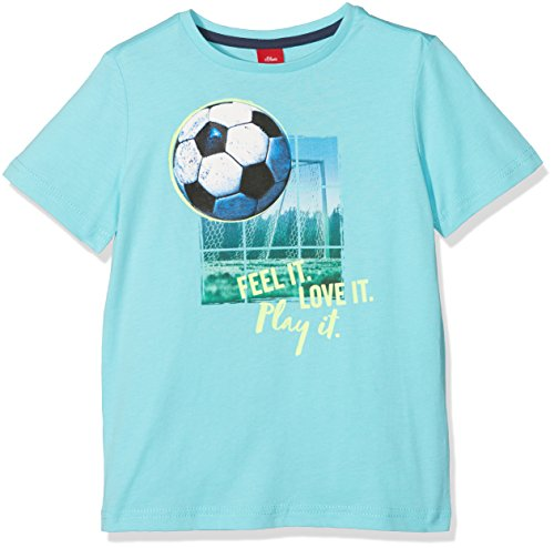 s.Oliver Jungen T-Shirt 64.802.32.6720, Türkis (Turquoise 6141), 128 (Herstellergröße: 128/134) (Shirt Fußball-jungen)