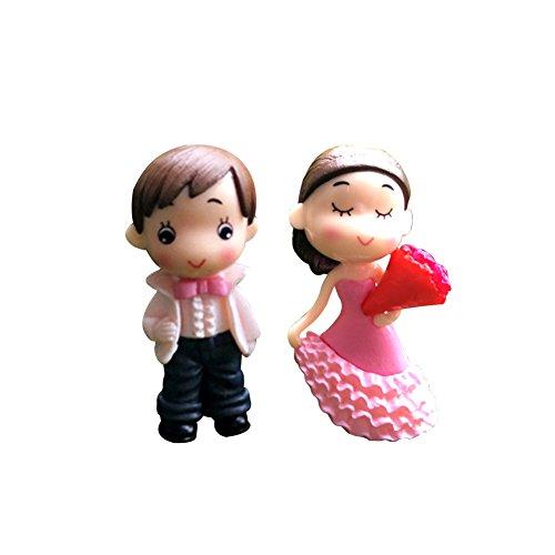shyyymaoyi niedliche Miniatur-Figuren für Liebhaber des Paares, Hochzeit, Garten, Miniatur, Puppenhaus, Ornament - Rosa Mops Stiefel