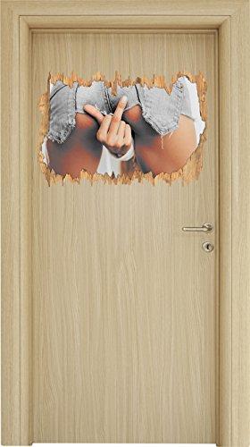 Stil.Zeit Freche Frau zeigt Mittelfinger in sexy Pose B&W Detail Holzdurchbruch im 3D-Look, Wand- oder Türaufkleber Format: 62x42cm, Wandsticker, Wandtattoo, Wanddekoration
